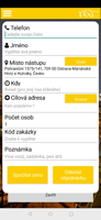 Screen z android aplikace Taxi Ostrava